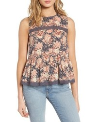 Current/Elliott Floral Lace Peplum Tank