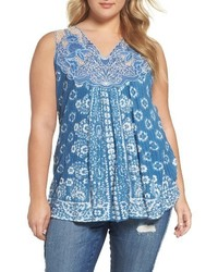 Lucky Brand Plus Size Floral Lace Yoke Tank