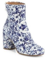 Maison Margiela Floral Print Leather Block Heel Booties