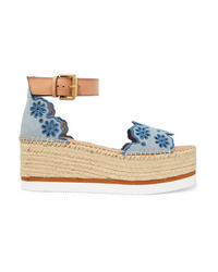 See by Chloe Embroidered Laser Cut Suede And Leather Espadrille Wedge Sandals
