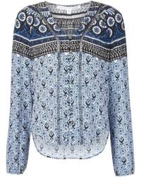 Light Blue Floral Long Sleeve Blouse