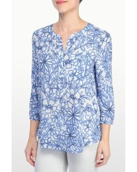 NYDJ Fanciful Floral Sketch Print 34 Sleeve Blouse In Petite