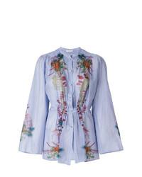 Etro Floral Print Gathered Shirt