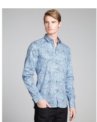 Light Blue Floral Long Sleeve Shirt