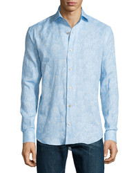 Bogosse Faded Floral Print Long Sleeve Sport Shirt Light Blue