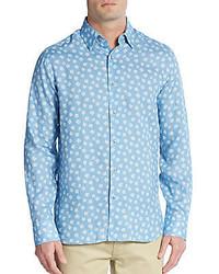 Saks Fifth Avenue Regular Fit Floral Print Linen Sportshirt