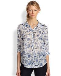Joie Katrine Cotton Silk Floral Print Blouse