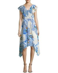 Shoshanna Curran V Neck Floral Print Midi Dress