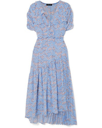 Markus Lupfer Nevada Wrap Effect Ruffled Floral Print Tte Midi Dress