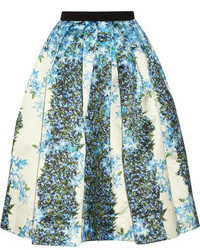 Sidewalk floral print silk gazar midi skirt medium 100549