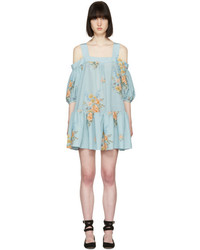 Alexander McQueen Blue Floral Off The Shoulder Dress