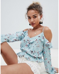 En Creme Cold Shoulder Floral Top With Ruffle