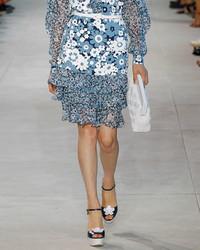 Michael Kors Michl Kors Collection Floral Tiered Hem Skirt Blue Pattern