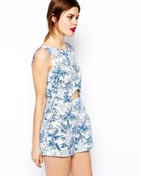 75072bc0342 ... Asos Playsuit In Blue Floral Print ...