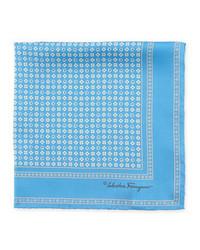 Salvatore ferragamo gancini flower pocket square blue medium 542566