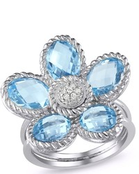 Ice 005 Ct Diamond Tw And 7 12 Ct Tgw Sky Blue Topaz Silver Fashion Ring