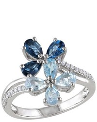 Allura 125 Ct Tw Blue Topaz And 110 Ct Tw Diamond Flower Ring In Sterling Silver