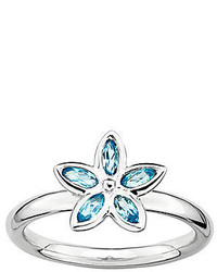 Fine jewelry personally stackable genuine blue topaz sterling silver flower ring medium 133476