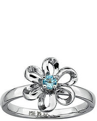 jcpenney Fine Jewelry Personally Stackable Lab Created Blue Topaz Sterling Flower Stackable Ring