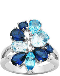 jcpenney Fine Jewelry Sterling Silver Shades Of Blue Cluster Ring
