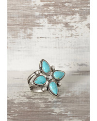Forever 21 Peyote Bird Turquoise Flower Ring
