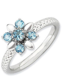 Sterling Silver Stackable Flower Ring Blue Topaz Stones Qsk794