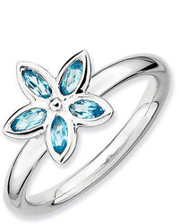 Sterling Silver Stackable Flower Ring Marquise Shaped Blue Topaz Stones Qsk490