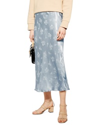 Topshop Floral Jacquard Bias Midi Skirt