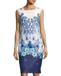Floral print scuba sheath dress blue pattern medium 3717410