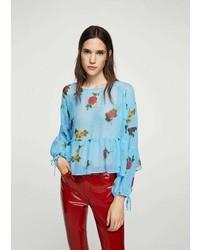 Mango Puffed Sleeves Floral Shirt