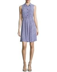 Kate Spade New York Sleeveless Floral Jersey Shirtdress Ensemble Blue