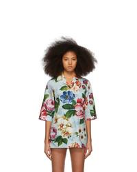 Dolce And Gabbana Blue Poplin Floral Shirt