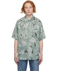 Acne Studios Green Printed Short Sleeve Shirt