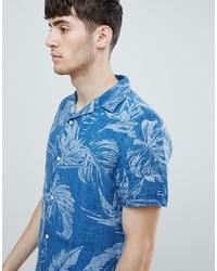 Tommy Hilfiger Short Sleeve Indigo Floral Print Shirt Revere Collar In Indigo Blue