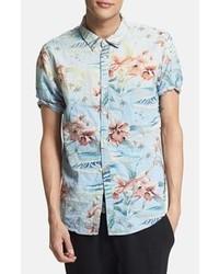 Short sleeve tropical print woven shirt medium 47887