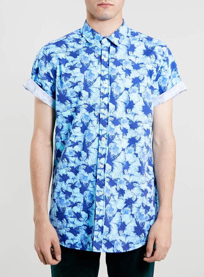 ... Topman Blue Floral Design Short Sleeve Shirt ...