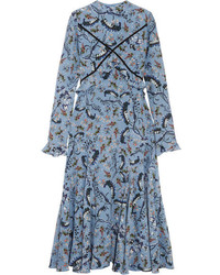 Erdem Cordelia Floral Print Silk Crepe De Chine Midi Dress Light Blue