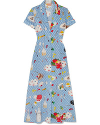 LHD Marlin Printed Silk De Chine Midi Dress