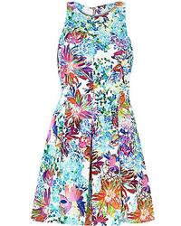 Blue floral print skater dress medium 228501