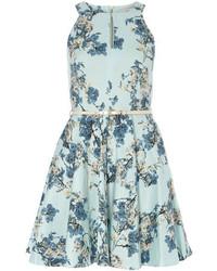 Dorothy Perkins Closet Pale Blue Floral Skater Dress