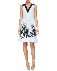 Carolina Herrera Floral Embroidered Faille Cocktail Dress