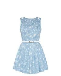 Parisian New Look Blue Denim Floral Print Cut Out Skater Dress