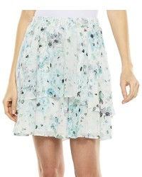 Lc floral tiered chiffon skirt medium 178642