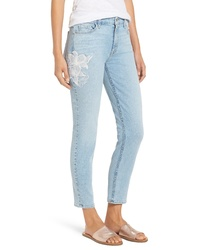 JEN7 by 7 For All Mankind Embroidered Stretch Ankle Skinny Jeans