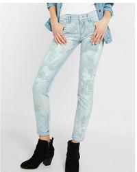 Light floral embroidered jean leggings medium 6483593