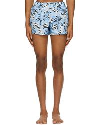 Marni Blue Brushed Daisy Print Swim Shorts