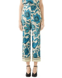 Gucci Watercolor Floral Print Silk Twill Pants