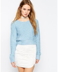 Light Blue Fluffy Crew-neck Sweaters for Women | Women's Fashion