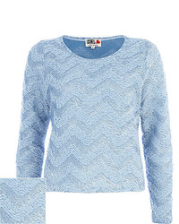 Blue chelsea girl zig zag fluffy sweater medium 160178