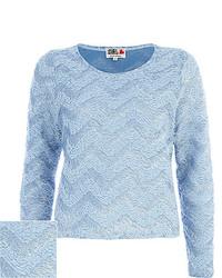 Blue chelsea girl zig zag fluffy sweater medium 160178